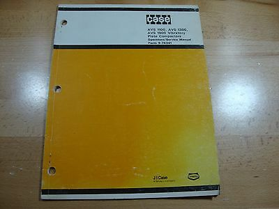 Case Avs 1100 1300 1900 Vibratory Plate Compactor Service Operation Manual
