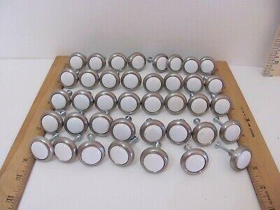 """39 VTG 1"""" Brushed Nickel & Porcelain Door Cabinet Drawer Knobs Kitchen Bathroom"""