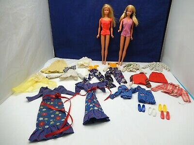 VINTAGE BARBIE & PJ MOD 1970's LARGE LOT MALIBU DOLLS w/ BEST BUY CLOTHING SHOES