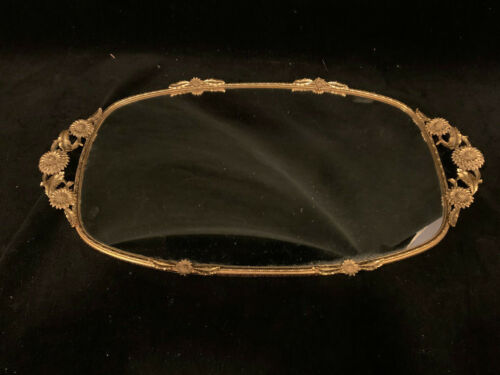 """Signed Matson Vintage Gold Vanity Mirror / Perfume Tray 19 x 10½"""" with Sunflower"""