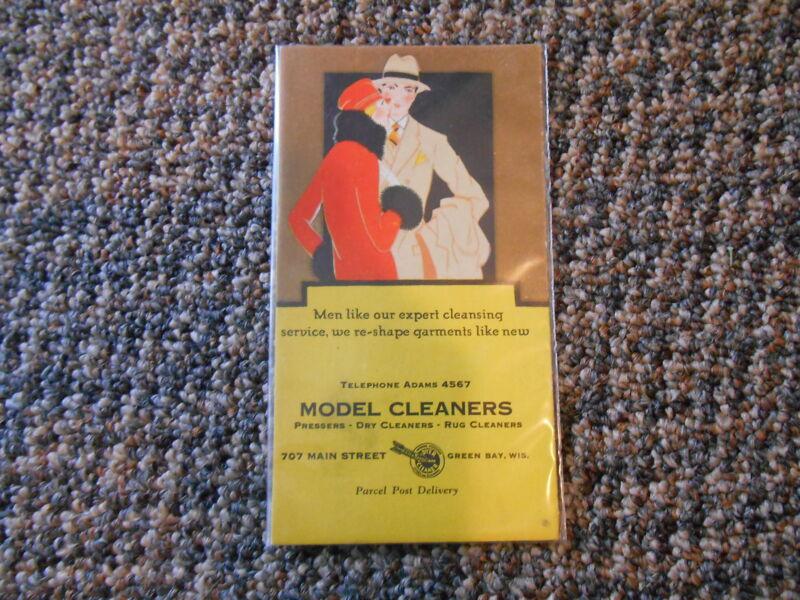 Old Vintage Blotter Model Cleaners Green Bay Wisconsin Advertising Men Main St.