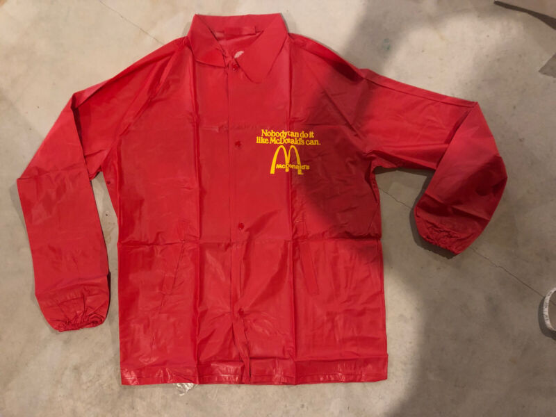 Brand New McDonald's Employee Vintage 1970's Red Jacket Size Medium