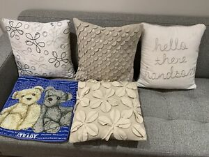 Sofa cushion throw pillows beige white blue teddy bear