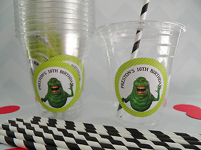 Set of 24- Personalized Ghostbuster Birthday Party Cups  Lids Straws- 12 or - 16 Oz Cups