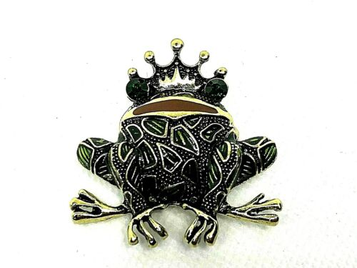 Frog Brooch pin black rhinestones 1.5x1.5 frog prince crown GIFT #5 mothers day