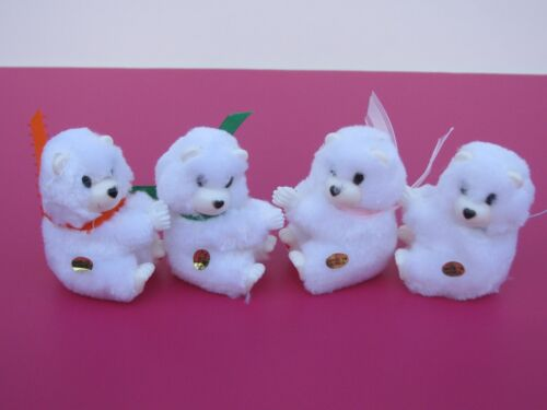 4 mini Polar bears Clip-on Cuddles Plush Turning head Hug & decorative Free ship
