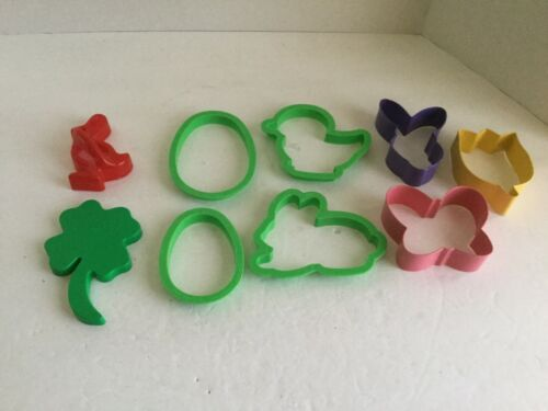 Lot 9 Aluminum Plastic Spring Easter Cookie Cutters eggs bunny butterfly tulip