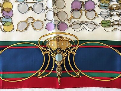 Vintage GUCCI red blue multicolor eyeglasses silk scarf in bag