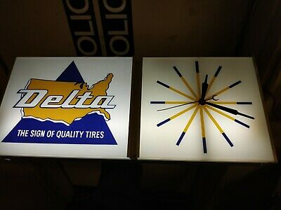 Delta Tires illuminated advertising Sign Clock.Neon Products inc NPI Vintage NOS