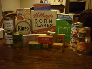 WW2 BRITISH BRITISH HOME FRONT SHOPPING BASKET BOXES AND LABEL SET (REPRO)
