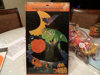 Halloween Hallmark Witch Decoration Honeycomb Hat & Pumpkin new vintage USA