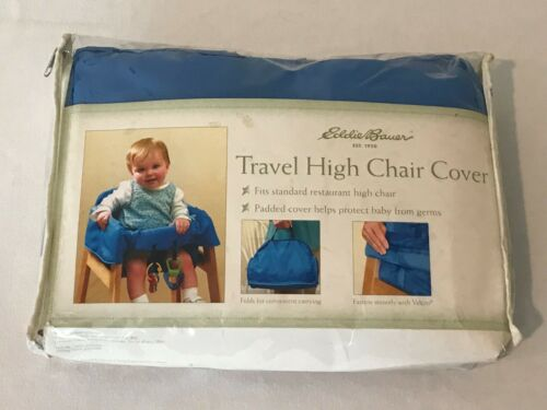 Eddie Bauer Travel High Chair Cover Blue with Zippered Storage Bag