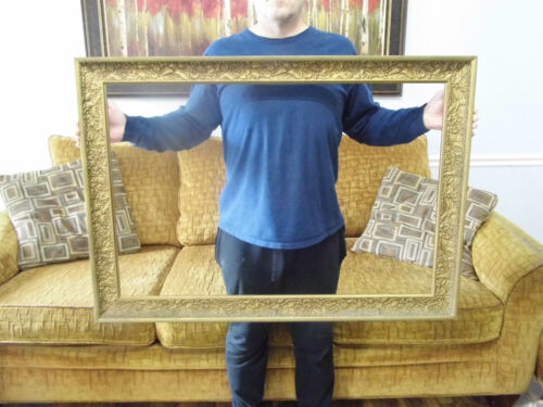 """Vintage XL Wood Gold Gilt Picture Frame Leaves Flowers 28"""" x 41 fits 24 x 36"""