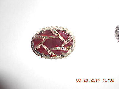 Ornate Detailed Unique Garnet colored Vintage Victorian? Silver Look Brooch Pin