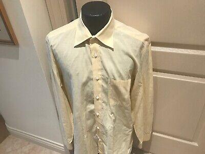 LUIGI BORRELLI YELLOW/WHITE STRIPE COTTON DRESS SHIRT 16.5 (42CM)/ITALY