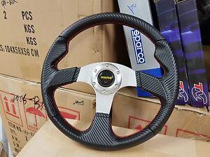Momo steering wheel carbon fibre alum 350mm flat RED SILVER BLUE Hallam Casey Area Preview