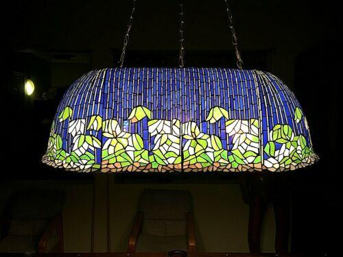Rare Vintage Custom One-of-a-Kind Tiffany Style Flowering Lotus Pool Table Lamp