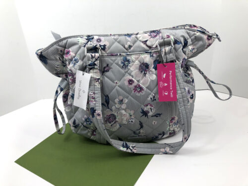 Vera Bradley Iconic Glenna Satchel Tote Purse Park Stripe Gray Floral  NWT $110