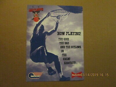 f9e12f47f78e NBL Calgary Outlaws Vintage Defunct NOW PLAYING! Budweiser Sponsored Logo  Poster