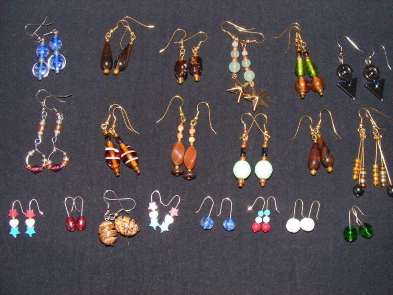 20 Pair of New Handmade Pierced Earrings Assorted Styles, Stone, Glass, Etc...