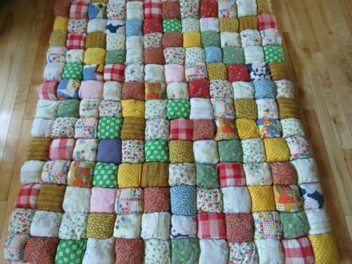 Unusual Vintage Handmade Rag Puffy Stuffed Granny Square Patch Quilt 6 1/2 lbs