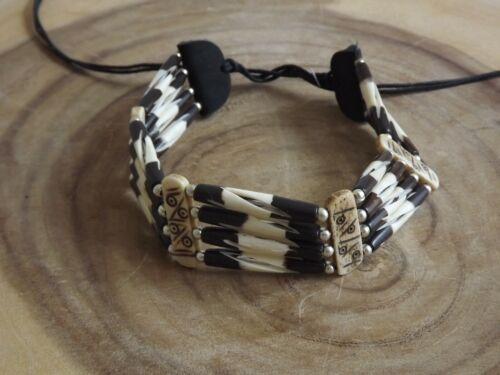 Buffalo Bone 4 Line Choker Beaded Stone Tribal Native American Necklace Brown