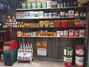 Wanted to buy oil tins oil bottles enamel signs petrol bowsers Patterson Lakes Kingston Area Preview