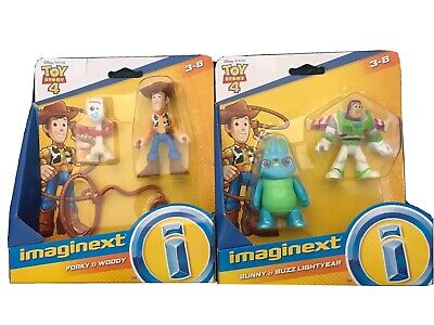 New Imaginext Toy Story 4 Lot Of 2! Forky & Woody AND Bunny & Buzz toy Figures!