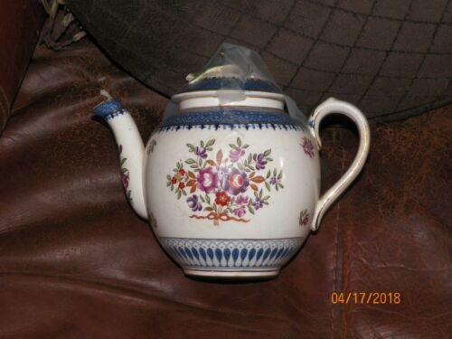 RARE! Booths Small English Tea Pot in Lowestoft Border with Flowers