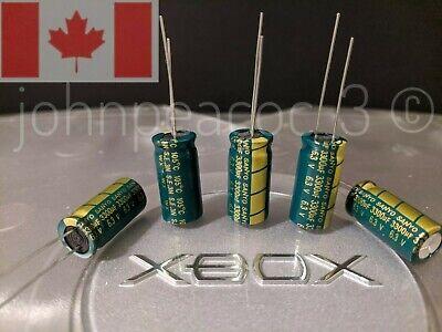 Original Xbox V1.6 Capacitor Kit 5pc 3300uf 6.3v Sanyo Low Esr