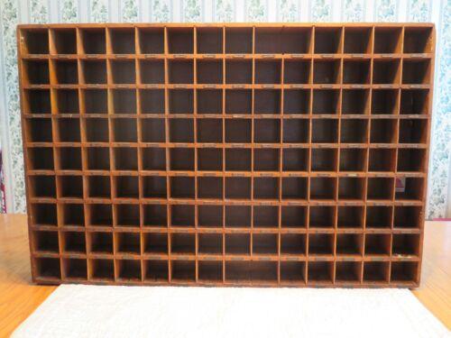 Vintage Large Printer Wood Cabinet Tray Display Miniatures Numbered Shadow Box