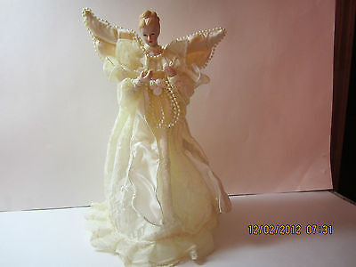 Vintage Christmas Angel Tree Topper-Beautiful Ivory Lace Dress With Pearl Beads