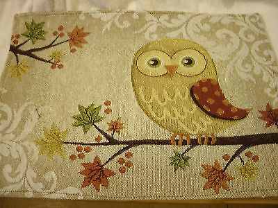Set Of 4 Owl 13x18 Tapestry Placemats