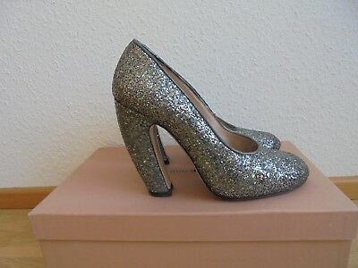Miu Miu by Prada Glitter Pumps NP: 790€ Luxus Schuhe High Heels Tasche Gr. 37