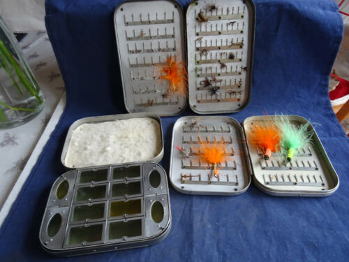 3X EARLY FLY BOXES INC. A WHEATLEY 12 COMPARTMENT DRY FLY TROUT FLY BOX