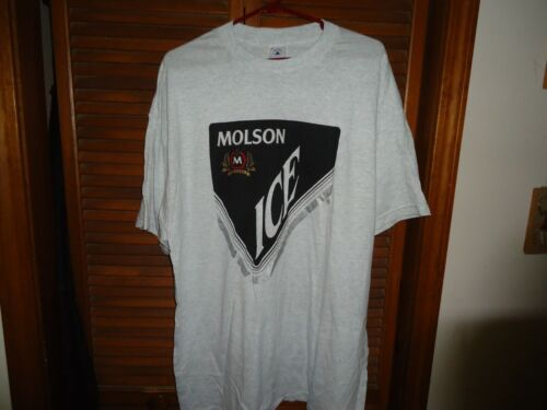 NEW FROM OLD STOCK VINTAGE MOLSON ICE BEER T-SHIRT GRAY SIZE XL