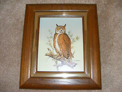 VINTAGE OWL ARTISTIC INTERIORS OIL CANVAS PAINTING SERIGRAPHS C CARSON #029578V