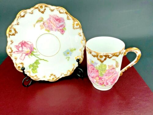 Antique Coronet Limoges porcelain demitasse Chocolate Cup and Saucer