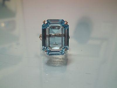 Vtg Sarah Coventry 1974 Large Rectangular BLUE LAGOON Rhinestone RING Adj. MINT