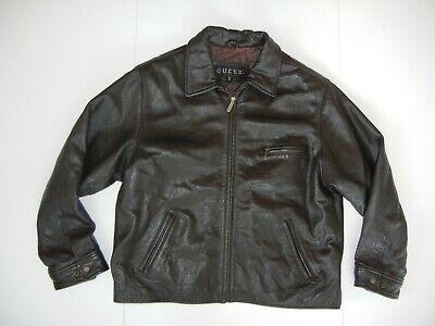 Vtg 90s GUESS Black Warm Heavy LEATHER JACKET Motorcycle Biker Coat Sz Men's XXL