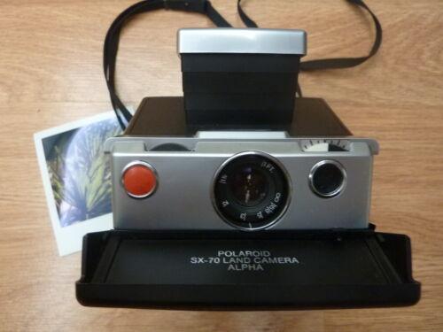 Polaroid SX-70 Alpha 1 Model 2 Black/Silver Film/Flash Tested Working Skins Off