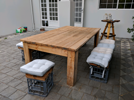 Lovely handmade outdoor table and bench seats