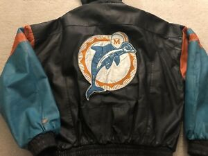 Vintage embroidered NFL Miami Dolphins all leather winter bomber