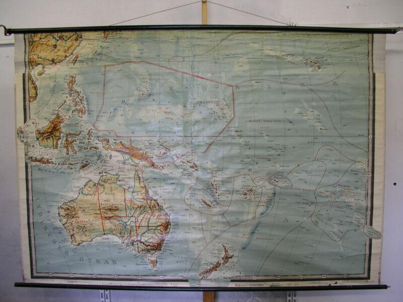 Schulwandkarte Wall Map Old Card Australia German South Seas 219x152 ~ 1915 Map