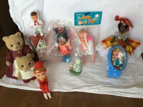 Lot of 9 Miscellaneous Miniature Vintage Dolls/Bears
