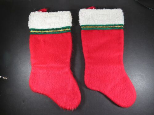 """2 Vintage Red Felt Christmas Stockings Lot 14"""" Decorations A8924"""