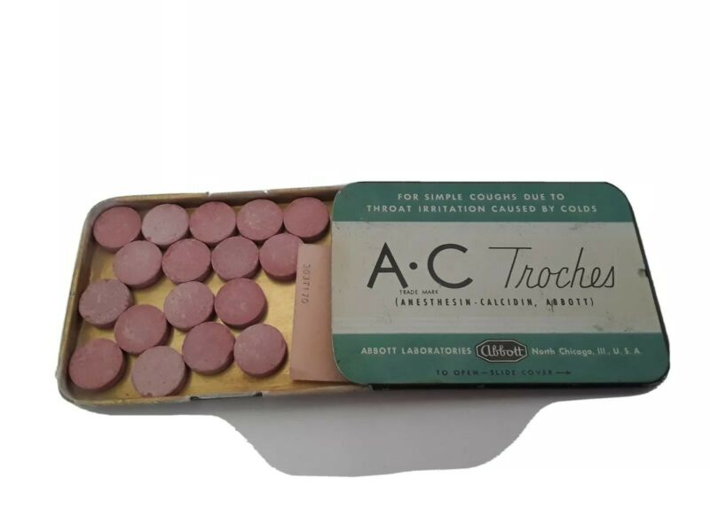 Vintage A-C Troches Cough Cold Tablets Advertising Medicine Tin Abbott Lab