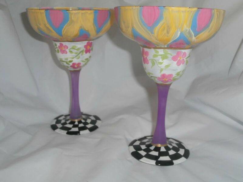 HANDPAINTED POSY  PINK YELLOW BLUE ARCHES CHECK STRIPE SET/4 MARGARITA GLASSES