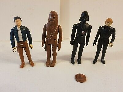 Vintage Star Wars Figure Bundle Lot,Original,Han Solo,Luke,Darth Vader,Chewbacca