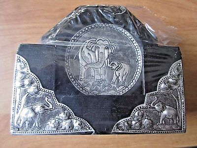 -  Set of 6 Silver Coasters with Case of Mother Elephant & Baby